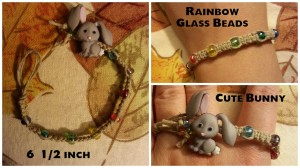 Cute Bunny - Rainbow Beads - 6.5in