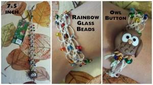Owl Lace Bracelet 7.5 inch